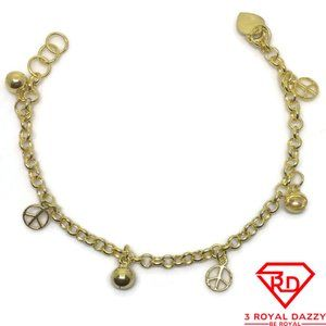 Bell & peace charm 7 inch Bracelet 999 Yellow Gold